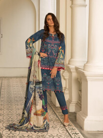 Navy Blue Embroidered & Digital Print Unstitched 3 Piece Suit for Women