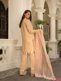 Beige Embroidered  Unstitched 3 Piece Suit for Women