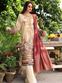 Beige Embroidered & Digital Print Unstitched 3 Piece Suit for Women