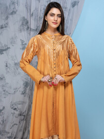 Mustard Jacquard Unstitched Shirt for Women