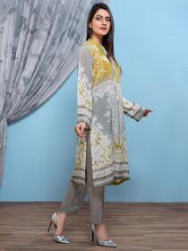 Grey Thai Silk Unstitched Shirt for Women