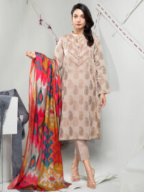 Beige Jacquard 2 Piece Unstitched Suit for Women