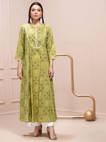 Green Printed Unstitched Lawn Shirt for Women