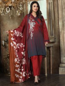 Red Printed 2 Piece Lawn Suit for Women