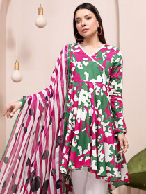 Multicolored  2 Piece Unstitched Lawn Suit for Women