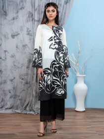Black & White Printed Unstitched Lawn Shirt for Women