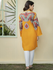 Mustard Printed Unstitched Lawn Shirt for Women