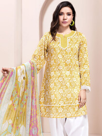 Yellow Printed 2 Piece Unstitched Lawn Suit for Women