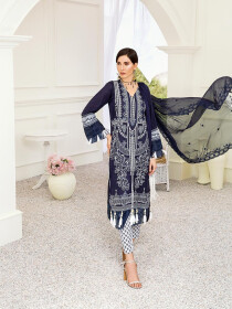 Dark Blue Embroidered Unstitched 3 Piece Suit for Women
