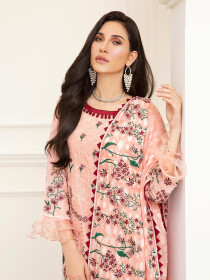 Pink Embroidered Unstitched 3 Piece Suit for Women