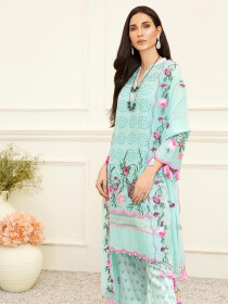 Turquoise Embroidered Unstitched 3 Piece Suit for Women