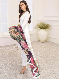 White Embroidered & Digital Print Unstitched 3 Piece Suit for Women