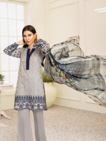 Grey Embroidered & Digital Print Unstitched 3 Piece Suit for Women