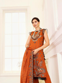 Orange Embroidered Unstitched 3 Piece Suit for Women