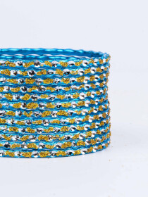 Blue Solitaire Aluminium Bangles for Women