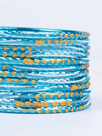 Blue Diaphanous Aluminium Bangles for Women