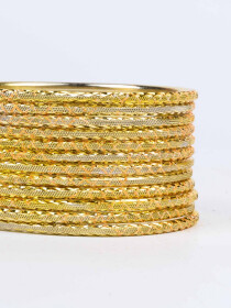 Yellow Ornate Aluminium Bangles for Women
