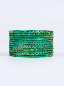Green Ornate Aluminium Bangles for Women
