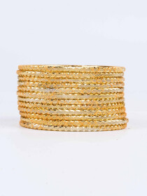 Gold Ornate Aluminium Bangles for Women