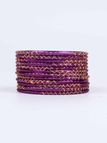 Purple Ornate Aluminium Bangles for Women