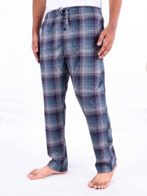 Blue & Green White Glen Plaid Cotton Blend Relaxed Pajamas