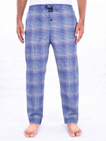 Blue & white Contrast Checked Cotton Blend Relaxed Pajamas