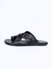 Black Leather Casual Slippers For Men