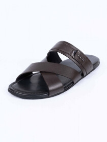 Coffee Brown Leather Casual Slippers For Men