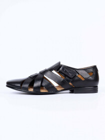Black Leather Casual Roman Sandal For Men