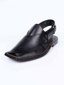 Black Leather Formal Sandal For Men