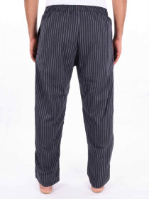 Black & Grey Striped Cotton Blend Relaxed Pajama