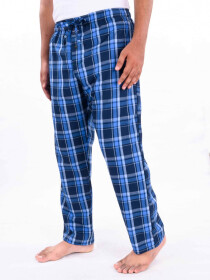 Blue Multi Check Lightweight Cotton Blend Relaxed Pajamas