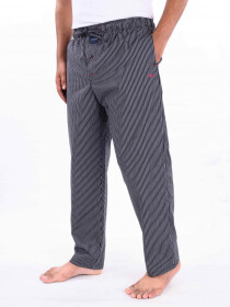 Black & White Striped Cotton Blend Relaxed Pajama