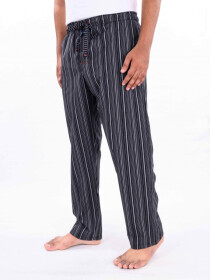 Black/White Multi Striped Cotton Blend Relaxed Pajama