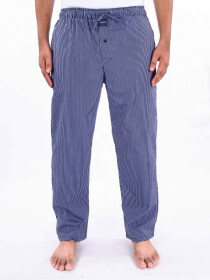 Blue & White Striped Cotton Blend Relaxed Pajamas