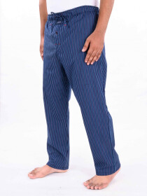 Blue Striped Cotton Blend Relaxed Pajama