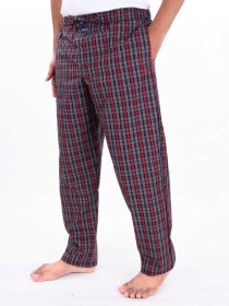 Red & White Multi Check Lightweight Cotton Blend Relaxed Pajamas