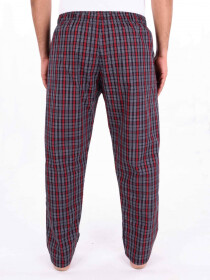 Red & White Multi Checked Cotton Blend Relaxed Pajama