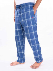 Blue & White Check Lightweight Cotton Blend Relaxed Pajamas