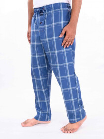 Blue & White Check Cotton Blend Relaxed Pajama