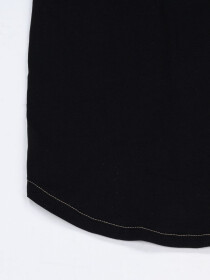 Women Black Round Bottom T-shirt