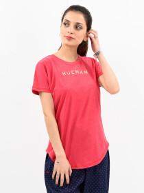 Women Pink Round Bottom T-shirt