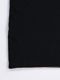 SF Applique Black Cotton Tee Shirt