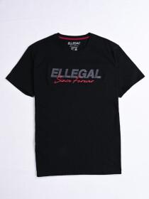 SF Applique Black Cotton Tee Shirt