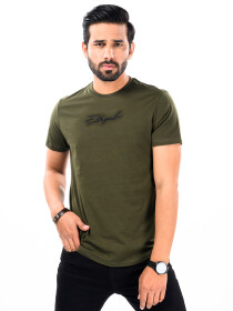 Cally Round Bottom Cotton Tee Shirt - Green Olive