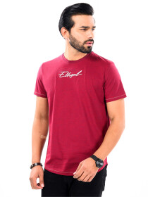 Cally Round Bottom Cotton Tee Shirt - Burgundy