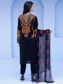 Black Slub Lawn Unstitched 2 Piece  Suit for Women