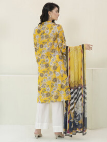 Yellow Lawn 3 Piece Unstitched Suit for Women
