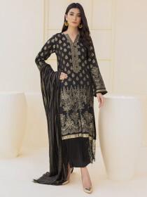 Black Jacquard 2 Piece Unstitched Suit for Women
