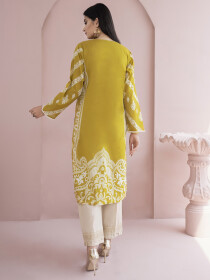 Ochre Printed Unstitched Lawn Shirt for Women